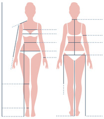 Female body in full length for measuring the size of the figure