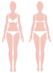 Female body in full length measurement parameters for clothes St