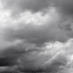 Moody clouds before a thunderstorm. Cloudy sky over horizon.