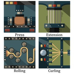 a set of four images of technological processes: pressing, twist