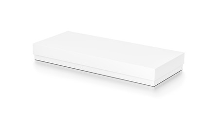 White wide thin horizontal rectangle blank box with cover from top side angle.