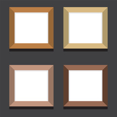Set Of Empty Square Picture Frames On Black Background
