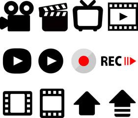 動画撮影のアイコンセット