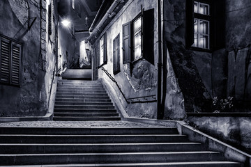 Moody monochrome view of Goldsmiths passage, in Sibiu, Romania, Fototapete