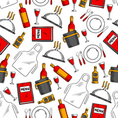 Restaurant service seamless pattern background