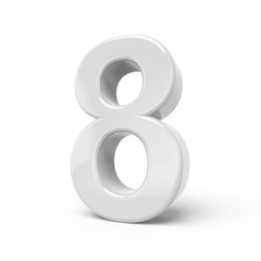 3D rendering white number 8