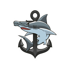 Hammerhead Shark and Anchor heraldic icon