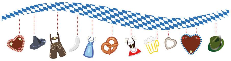Bayerisches Rautenmuster in Welle mit typischen Oktoberfest Elementen - Vektor