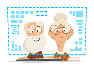 Old man woman sitting computer monitor Online people education