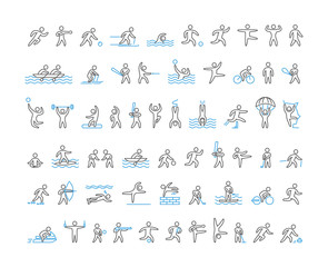 Vector line icons of sportsmen.