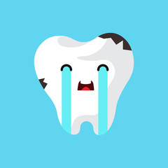 Vector cartoon sick tooth.