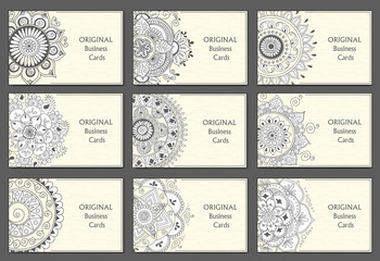 Business Cards set with abstract pattern