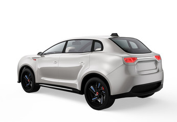 Rear view of metallic light gray electric SUV concept car. 3D rendering image with clipping path.