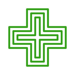 European green cross pharmacy store sign line art icon for apps and websites