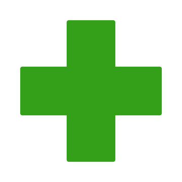 European green cross pharmacy store sign flat icon for apps and websites