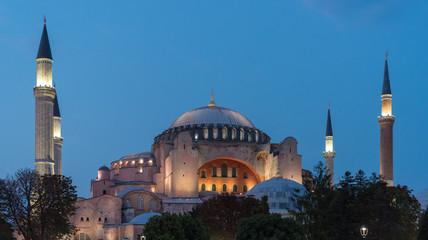 Evening at the Hagia Sophia Museum in Istanbul, Turkey