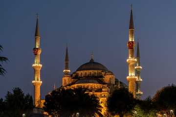 Evening at Blue Mosque in Istanbul, Turkey