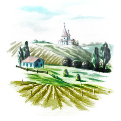 Vineyards watercolor_rel