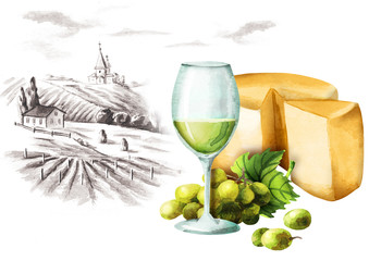 White wine, cheese and landscape. Watercolor