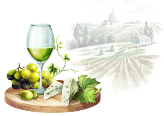 White wine, grapes, cheese and landscape