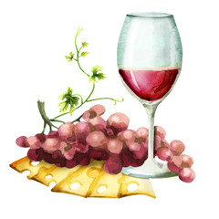 Wine, cheese and red grapes