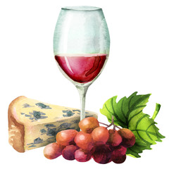 Wine, red grapes and cheese