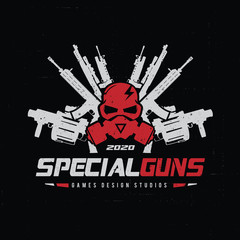 Game logo, Skull and gas mask logo,Gun logo with skull and dark concept.