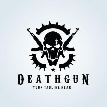 Game logo, Skull and gas mask logo,Gun logo with skull and dark concept.