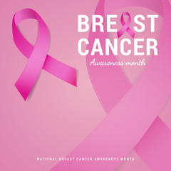 National Breast cancer awareness month background. pink ribbon symbolic. Vector illustration