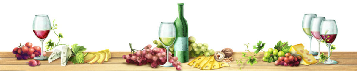 Panoramic image of wine and grapes on a white background. Can be used for kitchen skinali. Watercolor
