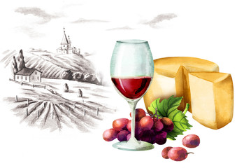 Red wine, cheese and landscape. Watercolor