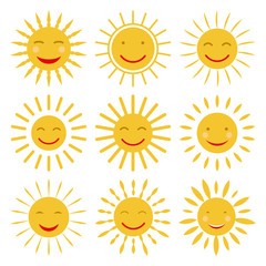 Cute hand drawn sun icons with smile. Vector