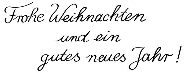 """Handgeschriebener Text für Weihnachtskarte: """"Frohe Weihnachten und ein gutes neues Jahr"""" – schwarz-weiß, Vektor, freigestellt"""