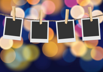 Blank photo frame on blurred defocused multi color lights background Vector