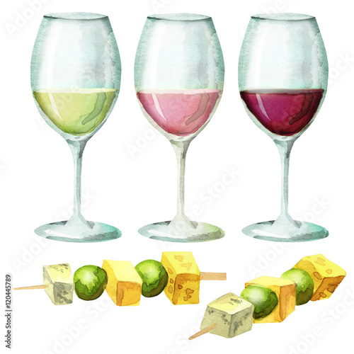 Colors of wine and canapes on skewers stockfotos und for Canape wines