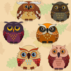 set of six cartoon owls in autumn coloring