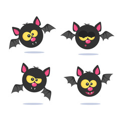 Set of bats icon on the white background.