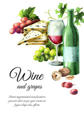 Wine and grapes background. Watercolor template