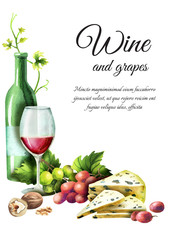 Wine and grapes template. Watercolor background
