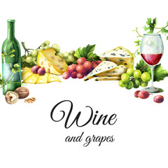 Wine and snacks background. Watercolor template