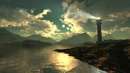 Magnificent seascape 3d illustration with dramatic cloudy sunset and lighthouse on a cliff among rocks