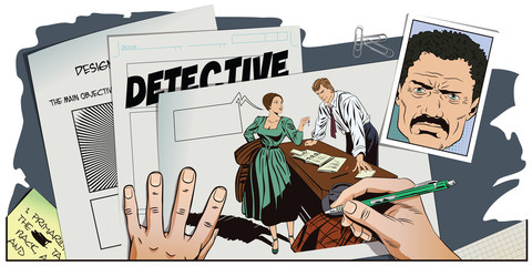Private detective and girl. Hand paints picture.