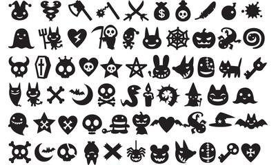 Halloween icons vector black