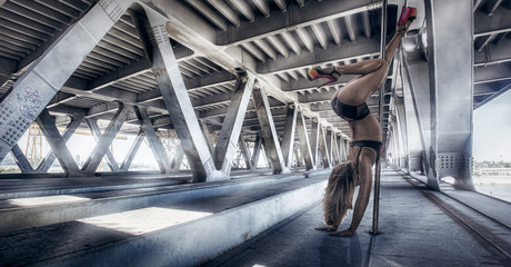 Female pole dancer performing outdoors Wall mural