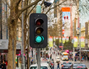 Traffic Light showing green in downtown Melbourne, Australia