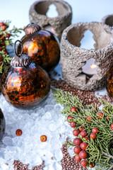Christmas tree handmade heavy glass balls and candlelight, decoration