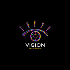 Vision logo design concept. Vector colorful open eye icon isolated on black background.