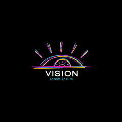 Vision logo design concept. Vector colorful open eye rising over the horizon icon isolated on black background.