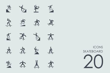 Set of skateboard icons