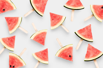 Top view watermelon ice cream isolated on white background.